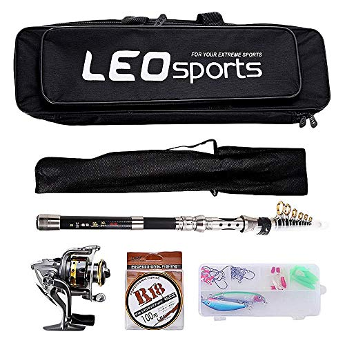 Kit Telescopic Fishing (OUTLIFE Fishing Tackle Kit with Spinning Rod Reel Combos Line Lures Hooks Travel Bag, for Sea Saltwater Freshwater Boat Fishing, Starter Professional Full Set (2.1M))