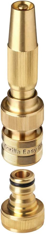 GORILLA EASY CONNECT Garden Hose Quick Connect Spray Nozzle. ¾ Inch GHT Solid Brass
