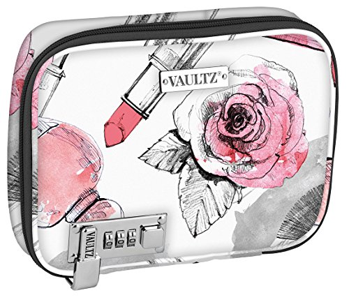 Lock Bag - Vaultz VZ03811 Locking Everyday Soft Case, Makeup Case with Removable Pouches, Combination Lock, 8.5 x 6.5 x 2 Inches, Cosmetic Roses