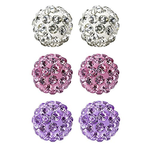 JewelrieShop Rhinestones Crystal Ball Stud Earrings Set Fireball Disco Ball Pave Bead Earrings Hypoallergenic for Teen Girls Women 6mm x 3 Pairs (White, Lt. Pink, Tanzanite)