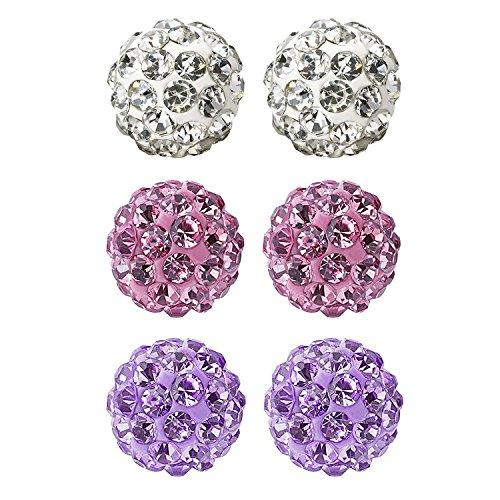 (JewelrieShop Rhinestones Crystal Ball Stud Earrings Set Fireball Disco Ball Pave Bead Earrings Hypoallergenic for Teen Girls Women 8mm x 3 Pairs (White, Lt. Pink, Tanzanite))