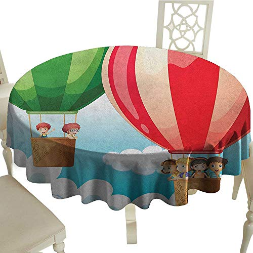 longbuyer Explore Printed Tablecloth Children in Hot Air Balloons Flying Kids Adventure Exploration Themed Illustration Diameter 70
