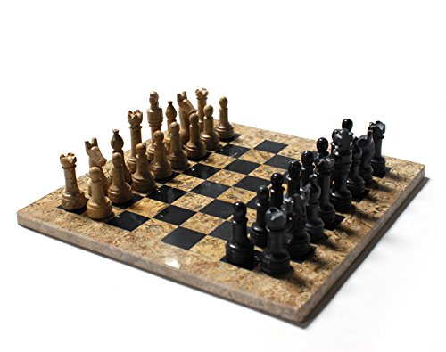 (Marble Chess Set Black/Coral, 12 in. Includes a Deluxe Velvet Box)