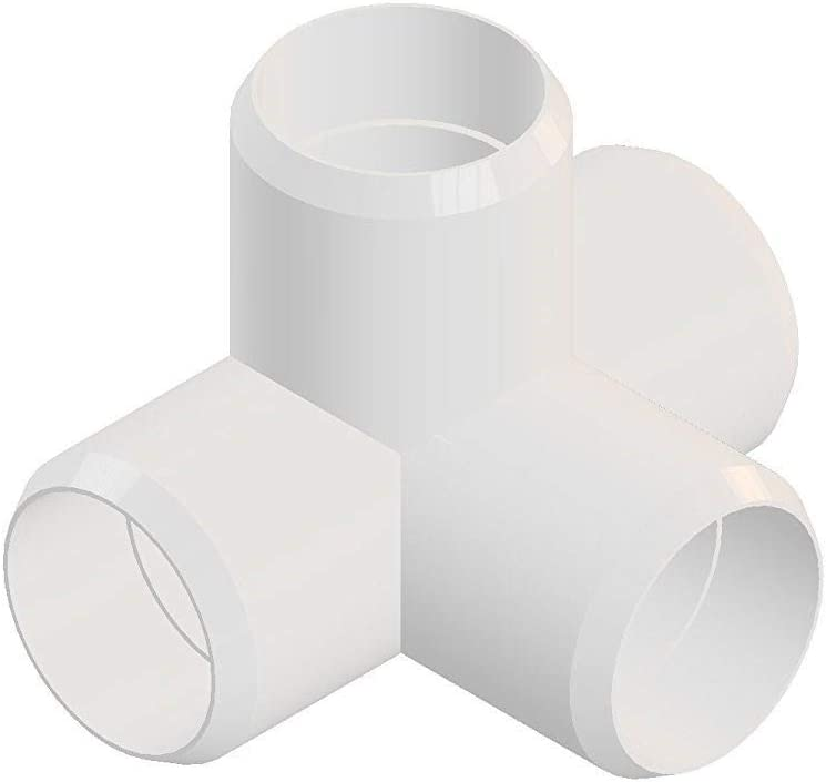 4way 1 1/4inch PVC Elbow Corner Side Outlet Tee Fitting, Furniture Grade, White [Pack of 8]