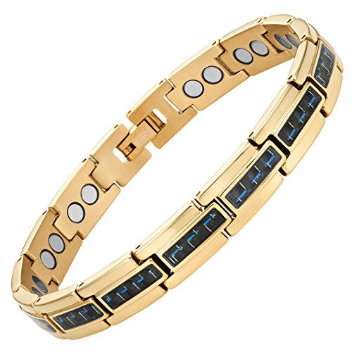 Men's Carbon Fiber Titanium Magnetic Bracelet By Willis Judd 8.5inch