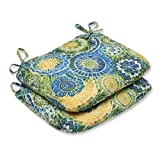 Pillow Perfect Outdoor Omnia Lagoon Rounded Corners Seat Cushion, Set of 2 For Sale