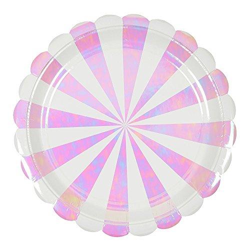 (Meri Meri Iridescent Fan Stripe Large Plates)