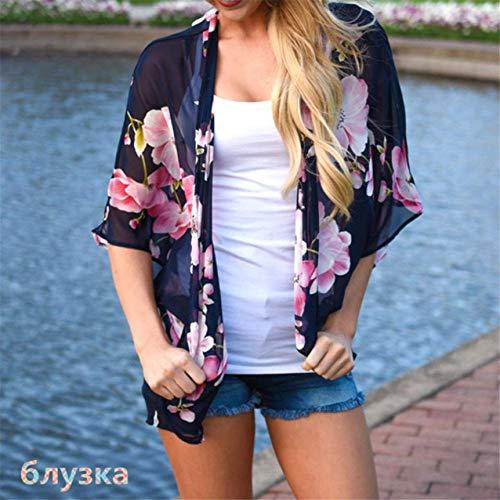 Blouse 3 Mince Mode Tunique Kimono Tops Large Et Manches Femme Chic Fashion Cardigan Elgante Vintage Navy 4 Motif Plage Mousseline Dcontract Ar Fleur nHqAwC