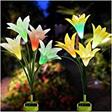 Solar Garden Lights, 2018 Newest Solar Flower Lights with Bigger Petal and Enlarged Solar Panel, Multi-Color Changing Lily Flowers for Patio,Garden,Backyard Decoration(2 Pack, Yellow & White)