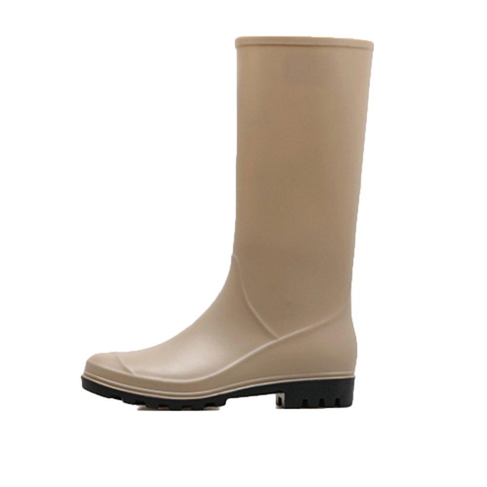 Sexy Regen Stiefel Damen High dick Fashion Stiefel Damen Erwachsene dick High besohlten Gummi wasserdichte Schuhe lange rutschfeste Schuhe ( Farbe : Natürlich , größe : EU39/UK6/CN39 ) Natürlich c0b7d7