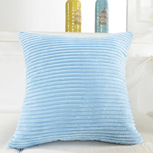 Home Brilliant Decor Solid Supersoft Corduroy Handmade Decorative Velvet Throw Pillow Cushion Cover With Zipper for Bed, Light Blue, 18×18 (45cm)