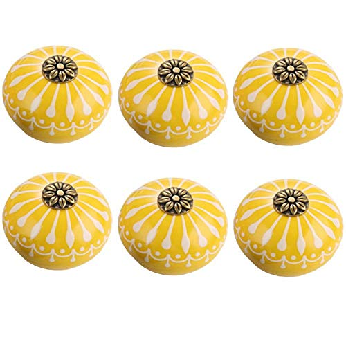 - FirstDecor 6pcs Yellow Ceramic Knobs for Cabinet Round Style Cupboard Door Knobs Drawer Dresser Pull Handles