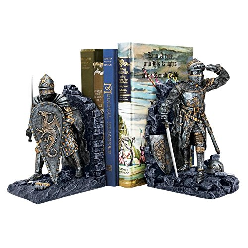 Design Toscano Arthurian Knight Medieval Decor Bookend Statues, 8 Inch, Set of Two, Polyresin, Grey Stone from Design Toscano
