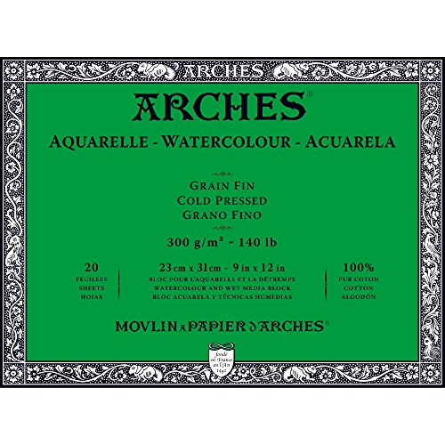 - Arches Watercolor Paper Block, Cold Press, 9