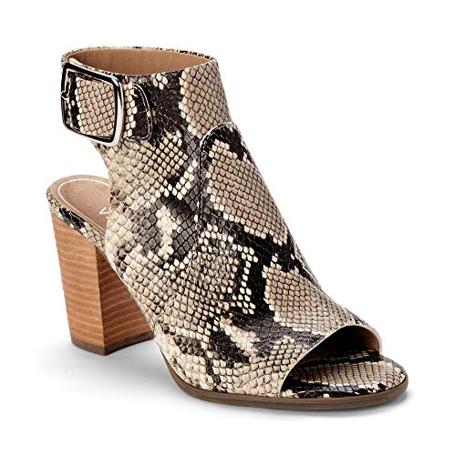 - Vionic Women's Perk Blakely Open Toe Slingback Heel - Ladies Peep Toe Booties with Concealed Orthotic Support - Natural Snake Leather 11M