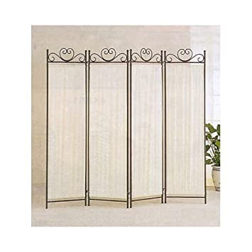 coaster 4 panel elegant room divider screen ivory fabric metal frame