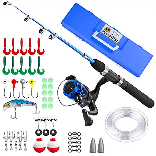 (PLUSINNO Kids Fishing Pole,Light and Portable Telescopic Fishing Rod and Reel Combos for Youth Fishing by (Black Handle with Box, 150CM 59In) )