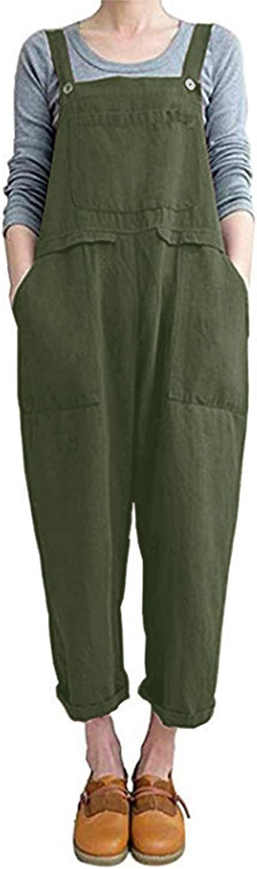 ZANZEA Women's Bib Baggy Overalls Cotton Linen Loose Casual Rompers Jumpsuits Wide Leg Harem Pants