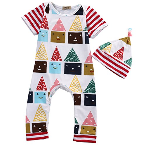 Newborn Baby Boy Girls House Printing Romper Striped Jumpsuit Hat Outfits Set (0-6 Months, (Santa Outfit For Baby Boy)