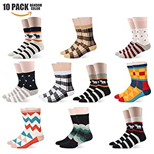 Mens Dress Socks Colorful Striped Funky Pattern Formal Business Mid Calf- Toe Heel REINFORCED Gift Boxed (US Men Size 6-10/EU 39-44, MSK899-10 Pairs Special gift bag)