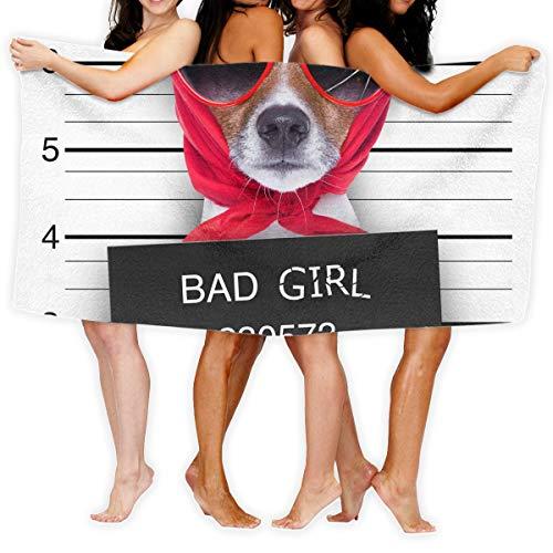 Funny Dog Bad Girl Printed Bath Towel Shower Wrap Beach Bathroom Body Towels Waffle Body Wrap Spa Home Travel Hotel Use - Boy Spa Dog Bad