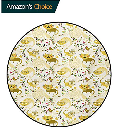 (RUGSMAT Kids Round Rug,Happy Smile Cats Kittens with Hearts Abstract Floral Figures Childhood Joy Fantasy Carpet Door Pad for Bedroom/Living Room/Balcony/Kitchen Mat,Diameter-51 Inch)