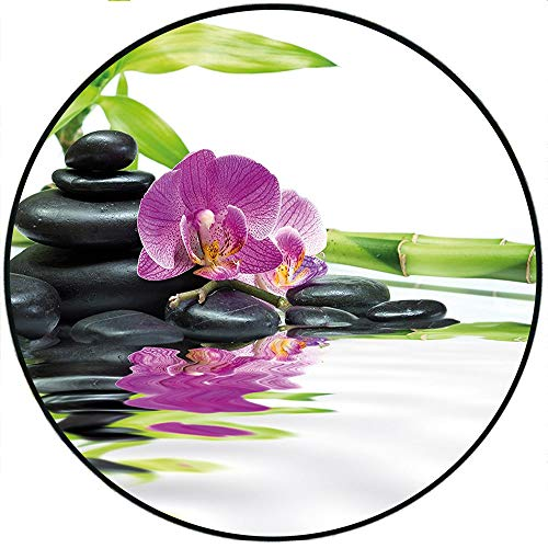 (Short Plush Round Area Rug Asian Relaxation with Zen Massage Stones Purple Orchid and a Bamboo Purple Black and Green Dining Room Bedroom Hallway Home Office 19.7