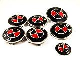 7 Black Red BMW Car Carbon Fiber Badges Bonnet Boot Steering Wheel Caps Emblem