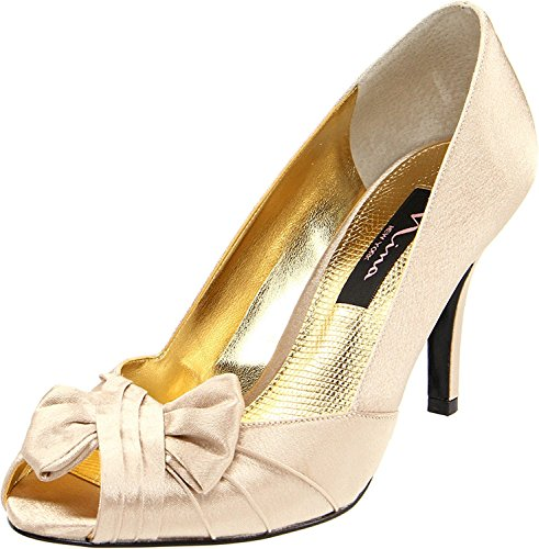 Nina Women's Forbes-Ys Peep-Toe Pump,Gold,8 M US - Satin Peep Toe Pump Heel