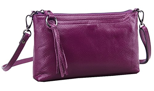 Women's Retro Diagonal HAD Purple Package Genuine Bag Leather Silver SAIERLONG Clutch Shoulder Small 1xSOq45w5