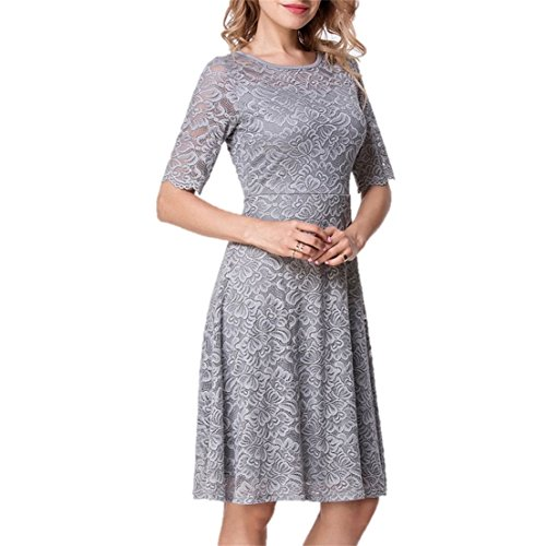 Gray Lace Dress (Unbranded* Elegant Women's Fashion Lace Overlay Short Sleeve Boutique Swing Dress M Silver-Gray)