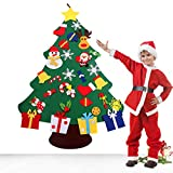beautiful christmas decorations VOWOV Felt Christmas Tree Decorations Set with Ornaments - Double Stitched- Wall Hanging-Handmade 30 pcs Detachable Christmas Ornaments 3.6FT(Large)