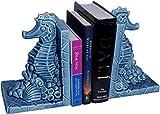 BuddyBoo Designs Seahorse Decorative Bookends, Ceramic, Blue - Pair 5''x5.5''x8''h