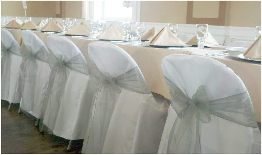 Amazon Com Springrose 100 White Polyester Standard Folding Wedding Chair Covers Chair Sash Is Not Included Home Kitchen