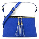 Women's Rich Faux Leather Light Weight Medium Crossbody Bag and Large Capacity Purse Organize with Adjustable Shoulder Strap (WHITE/ROYAL BLUE)