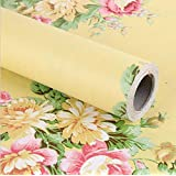 BESTERY Vintage Floral Self-Adhesive PVC Contact Paper Shelf Liner Peel & Stick Dresser Drawer Sticker Home Deco 17.7inch by 118inch (Yellow)