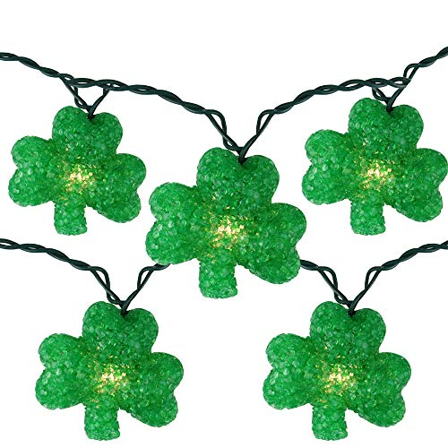 Set of 10 St Patrick's Day Irish Shamrock Holiday Lights - Green Wire