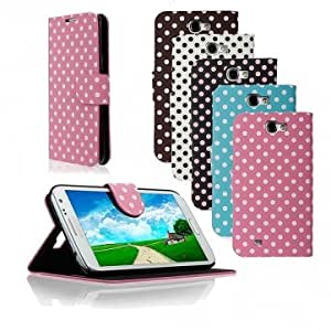 Dot Magnetic Flip Stand Leather Case For Samsung Galaxy Note 2 N7100 -*- Color -- Black