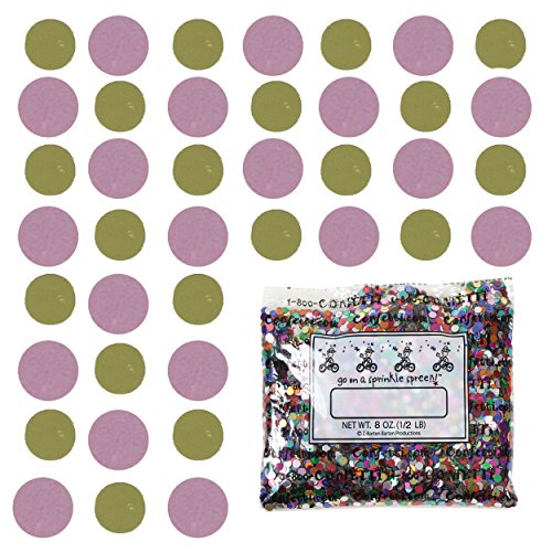 Confetti Circle 1/4'' Gold, Pink Combo - Half Pound Bag (8 oz) FREE SHIPPING --- (8552/8609) by Jimmy Jems