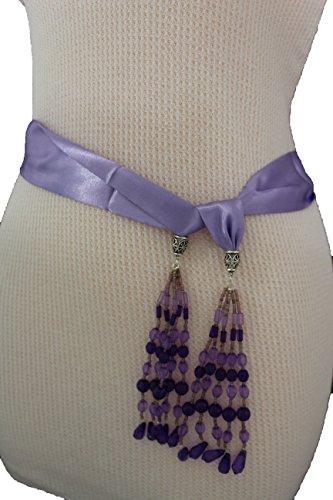 TFJ Women Fashion Silk Fabric Tie Belt Sash Fringes Beads Soft Scarf Xs S Lavender (Silk Scarf Belt Sash)