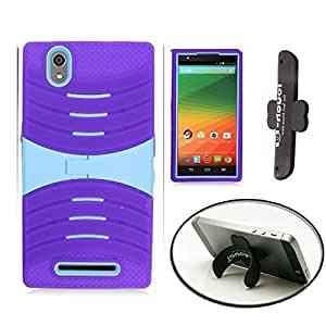 [STOP&ACCESSORIZE] PURPLE GRAY DUAL LAYER COVER SHELL KICKSTAND CASE for ZTE ZMAX Z970 + FREE CURVED KICKSTAND