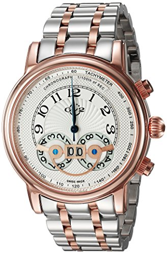 GV2 by Gevril Montreux Mens Chronograph Swiss Quartz Tachymeter Round Case Two Tone Stainless Steel Watch, (Model: 8103B) ()