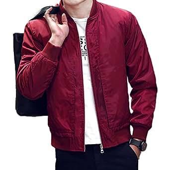 BINGKA Mens Bomber Jacket Softshell Sportswear Lightweight Slim Jacket Coat