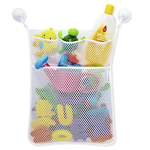 ADCorner Bath Toy Organizer Hanging Toy Storage Holder with Pockets for Baby Toys Shower Accessories Cosmetics 2 Free Suction Hooks for Smooth Surfaces Bath Beyond Keep Bath Tub - With Baby Sunglasses