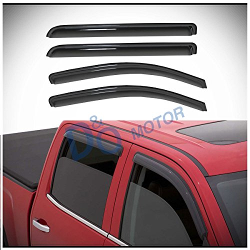 D&O MOTOR 4pcs Front+Rear Smoke Sun/Rain Guard Outside Mount Tape-On Vent Shade Window Visors For 14-18 Chevy Silverado/GMC Sierra 1500 15-18 2500/3500 HD Crew Cab With 4 Full Size Doors