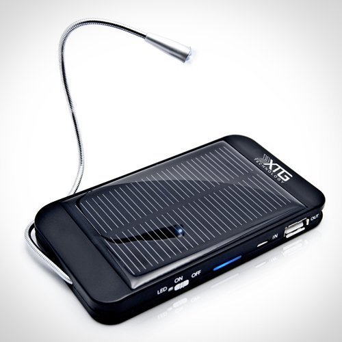 XTG Solar Charger, Solar Powered Back Up Battery (1500mAh, 1A USB Port) for iPhone, Samsung Galaxy & USB Devices. Great for Hiking & Adventure. Includes LED Reading Light and Windshield Suction Cups
