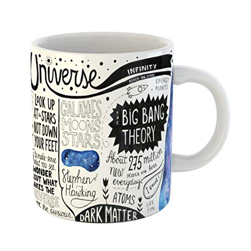 Emvency 11 Ounces Coffee Mug Moscow Russia March 14 Sketchy on Cosmic Stephen Hawking Motivational Phrases and Space Fun Facts Pen Ink Watercolour White Ceramic Glossy Tea Cup With Large C-handle