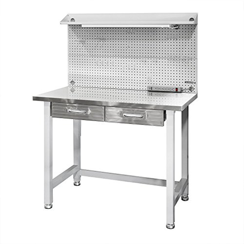 Stainless Workbench - Seville Classics UltraHD Lighted Stainless Steel Top Workbench
