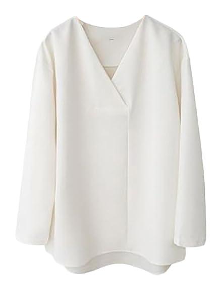 Camisas Mujer Clásico Casual Blusas Hipster Niñas Oficina V Cuello Camiseta Dama Tops Dulce Ropa Dama Moda Fashionista Camisa Unicolor: Amazon.es: Ropa y ...