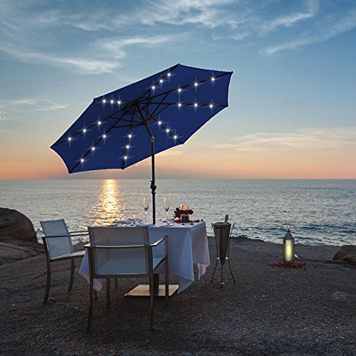 Kosycosy 10 ft LED Lighted Patio Umbrella Ultra Bright LED Solar Power Table Market Umbrella, with Tilt Adjustment & Crank Lift System, Perfect for Outdoors